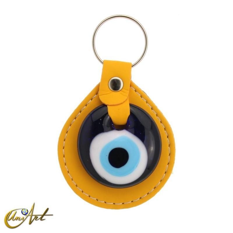 Turkish evil eye keychain against to the evil eye, yellow
