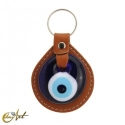 Turkish evil eye keychain against to the evil eye, leather brown color