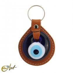 Llavero ojo turco contra el mal de ojo, marrón piel