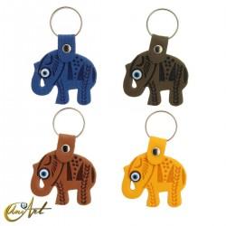 Elephant with the turkish evil eye, leatherette keychain