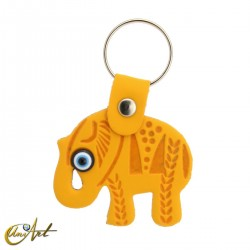 Elephant with the turkish evil eye, leatherette keychain  yellow color