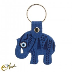 Elephant with the turkish evil eye, leatherette keychain blue color