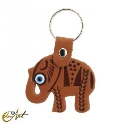 Elefante con el ojo turco, llavero de polipiel color marrón piel