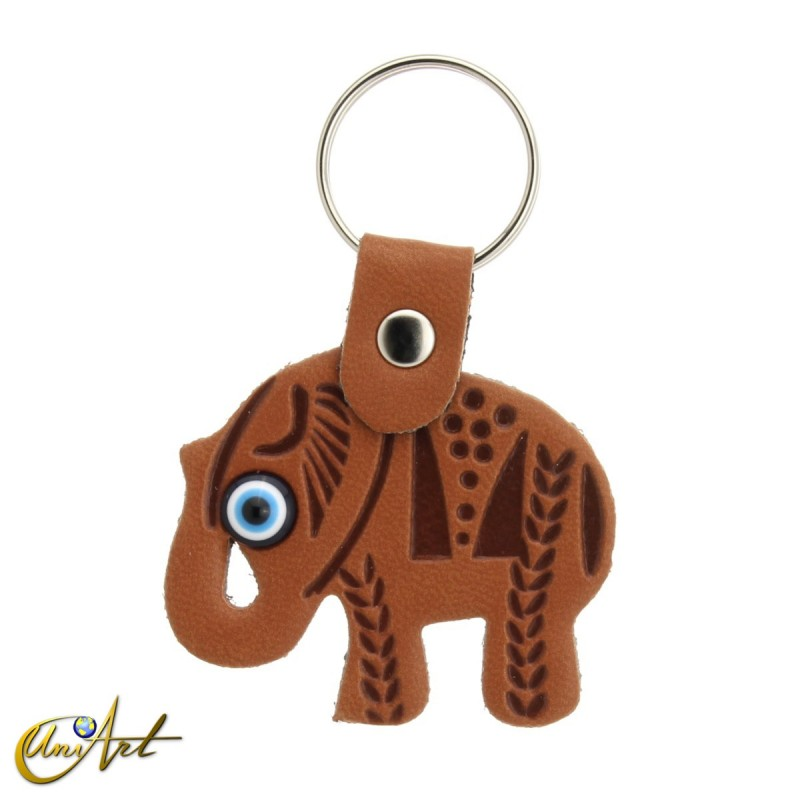 Elephant with the turkish evil eye, leatherette keychain  leather brown color