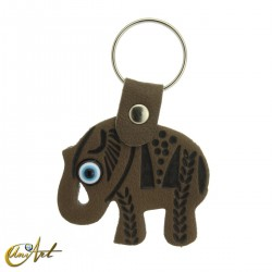 Elephant with the turkish evil eye, leatherette keychain olive color
