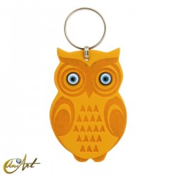 Leatherette owl keychain with turkish evil eyes, yellow