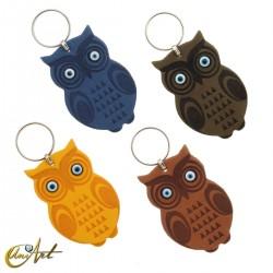 Leatherette owl keychain with turkish evil eyes
