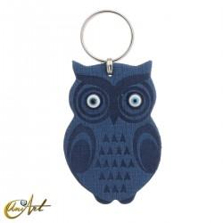 Leatherette owl keychain with turkish evil eyes, blue