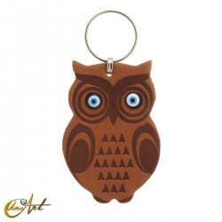 Leatherette owl keychain with turkish evil eyes, leather brown color