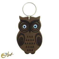 Leatherette owl keychain with turkish evil eyes, olive color.