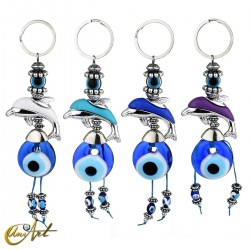 Turkish evil eye amulet keychain with Dolphin