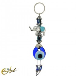 Elephant keychain with turkish evil eye, sky blue