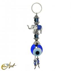 Llavero elefante con ojo turco, azul