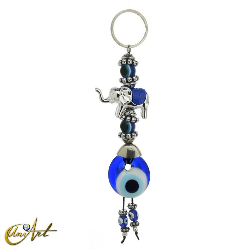 Elephant keychain with turkish evil eye, blue