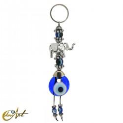 Elephant keychain with turkish evil eye, white