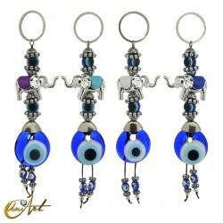 Elephant keychain with turkish evil eye