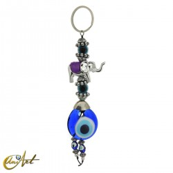 Elephant keychain with turkish evil eye, purple