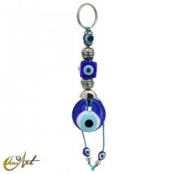 Llavero amuleto ojo turco, modelo cubo.
