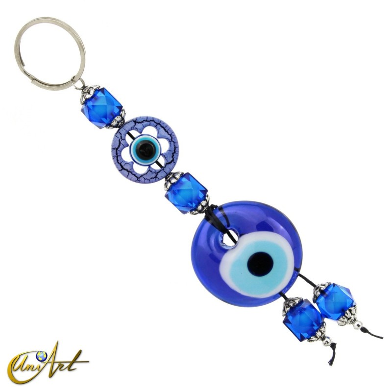 Turkish evil eye keychain with beads
