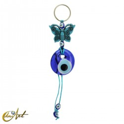 Vintage keychain with the turkish evil eye, butterfly