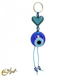 Vintage keychain with the turkish evil eye, heart.