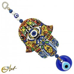 Wooden hand of Fatima with the Turkish evil eye, model 3
