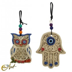 Ornament to hang, hand of Fatima or Owl