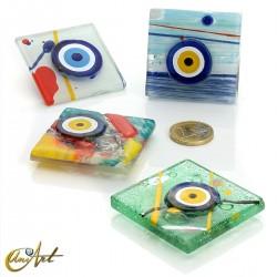 Turkish evil eye, art glass with magnet