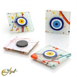 Turkish evil eye, art glass with magnet, Miró style