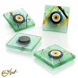 Turkish evil eye, art glass with magnet, Monet style