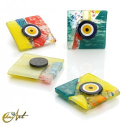 Turkish evil eye, art glass with magnet, Picasso style