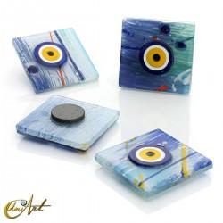 Turkish evil eye, art glass with magnet, Van Gogh style