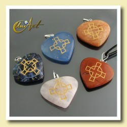 Heart pendant with  the Celtic Cross engraved in Natural Stone