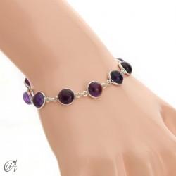 Silver bracelet with round gemstones - amethyst