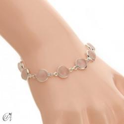 Silver bracelet with round gemstones, Esenca - rose quartz