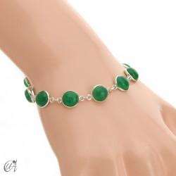 Pulsera de plata con gemas redondas - zafiro verde