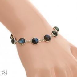 Silver bracelet with round gemstones, Esenca - labradorite