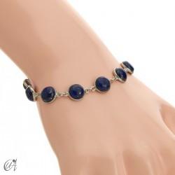 Silver bracelet with round gemstones, Esenca - lapis lazuli