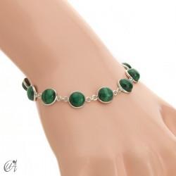 Silver bracelet with round gemstones, Esenca - malachite