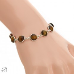 Silver bracelet with round gemstones, Esenca - tiger eye