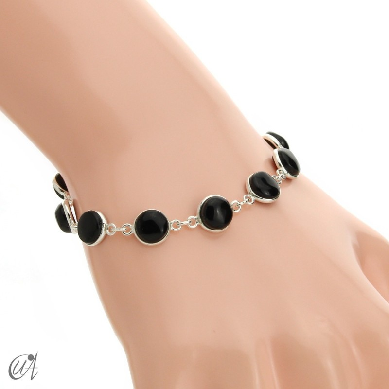 Silver bracelet with round gemstones, Esenca - onyx