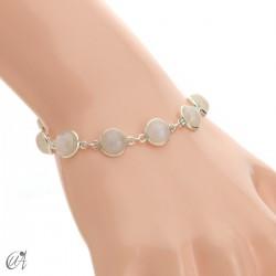 Pulsera de plata con gemas redondas - piedra luna
