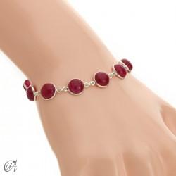 Pulsera de plata con gemas redondas - rubí