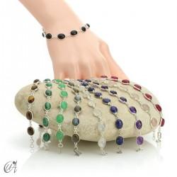 Silver bracelet with oval stones