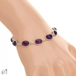 Silver bracelet with oval stones - amethyst