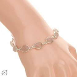 Silver bracelet with oval stones - rose quartz