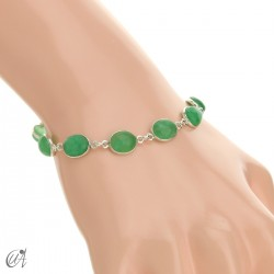 Silver bracelet with oval stones - green sapphire
