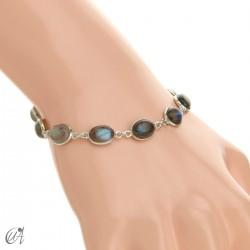 Silver bracelet with oval stones - labradorite