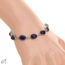 Silver bracelet with oval stones - lapis lazuli