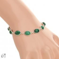 Silver bracelet with oval stones - malachite